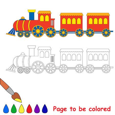 tren caricatura: Juguete rojo azul locomotora de motor del tren de libro para colorear coche para niños para colorear. Vectores