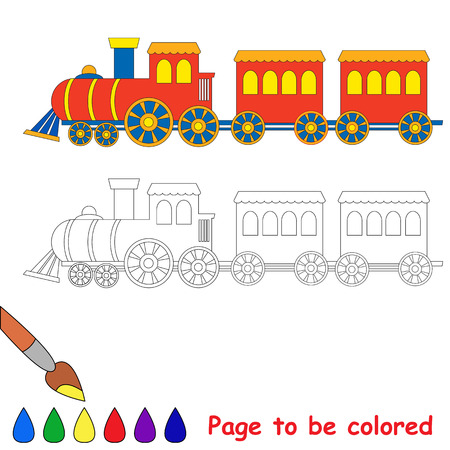 waggon: Toy red blue locomotive train engine car coloring book for kids to be colored. Illustration