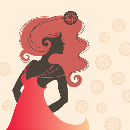 straps: One beautiful woman sideview with long red hair in a summer dress. Black silhouette in profile on a floral background. Red dress with thin straps. Vector fashion illustration.