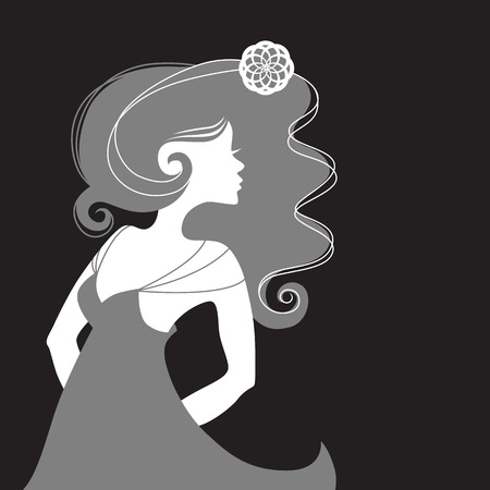 femme seule: Fashion illustration. Monochrome single woman girl sideview with long hair in a summer dress. Grey and white silhouette face profile on a black background.