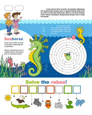 horsefish: Children games. Page for child. Maze and rebus. Help little seahorse find the way to his friend. Find hidden word seahorse in the rebus. Task and answer.