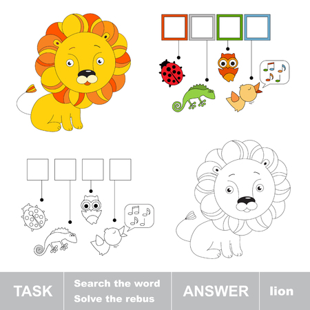 Toy lion. What is the word hidden. Task and answer. Page to be colored. Kid task for children.  Fill letters and solve the hidden word. A word game. Fill in the spaces. Find the hidden word. Coloring book with interesting tasks. Illustration