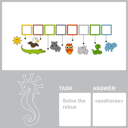 horsefish: Find hidden word seahorse in the rebus. Task and answer.