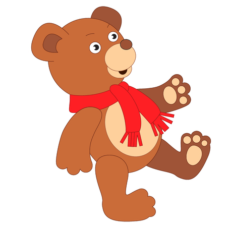 red scarf: Toy brown bear wearing red scarf for child.