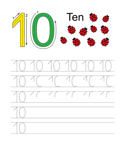 illustrated: Vector exercise illustrated alphabet. Learn handwriting. Tracing worksheet for figure ten.