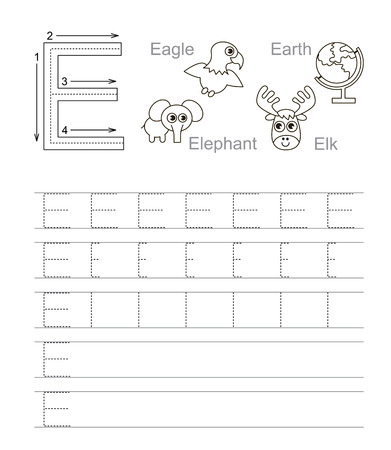 tracing: Vector exercise illustrated alphabet. Learn handwriting. Tracing worksheet for letter E. Page to be colored.