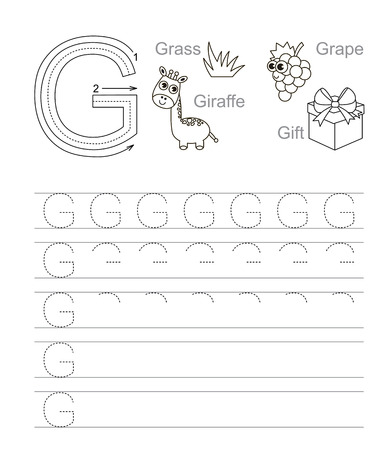 g giraffe: Vector exercise illustrated alphabet. Learn handwriting. Tracing worksheet for letter G. Page to be colored.
