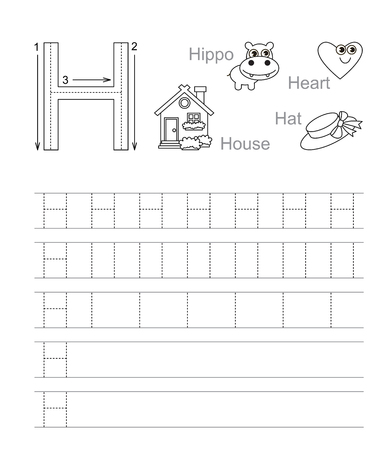 tracing: Vector exercise illustrated alphabet. Learn handwriting. Tracing worksheet for letter H. Page to be colored. Illustration