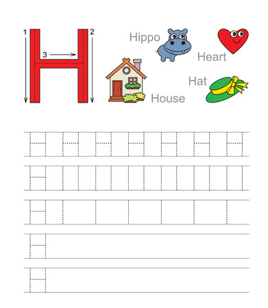 illustrated: Vector exercise illustrated alphabet. Learn handwriting. Tracing worksheet for letter H. Illustration