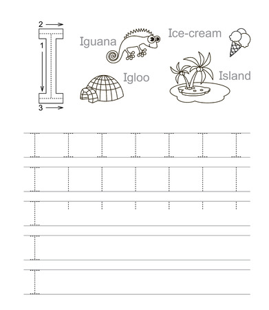 tracing: Vector exercise illustrated alphabet. Learn handwriting. Tracing worksheet for letter i. Page to be colored. Illustration