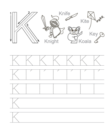 handwriting: Vector exercise illustrated alphabet. Learn handwriting. Tracing worksheet for letter K. Page to be colored.