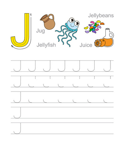 handwriting: Vector exercise illustrated alphabet. Learn handwriting. Tracing worksheet for letter J.