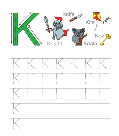illustrated: Vector exercise illustrated alphabet. Learn handwriting. Tracing worksheet for letter K.