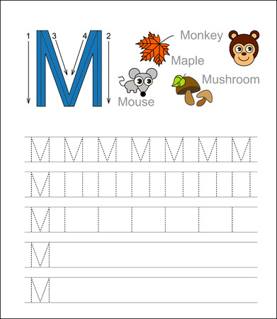 tracing: Vector exercise illustrated alphabet. Learn handwriting. Tracing worksheet for letter M. Illustration