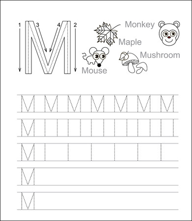 tracing: Vector exercise illustrated alphabet. Learn handwriting. Tracing worksheet for letter M. Page to be colored.