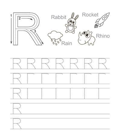 tracing: Vector exercise illustrated alphabet. Learn handwriting. Tracing worksheet for letter R. Page to be colored. Illustration