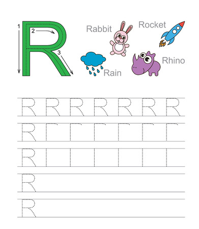 illustrated: Vector exercise illustrated alphabet. Learn handwriting. Tracing worksheet for letter R. Illustration