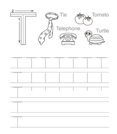 tracing: Vector exercise illustrated alphabet. Learn handwriting. Tracing worksheet for letter T. Page to be colored.