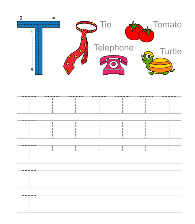 illustrated: Vector exercise illustrated alphabet. Learn handwriting. Tracing worksheet for letter T.