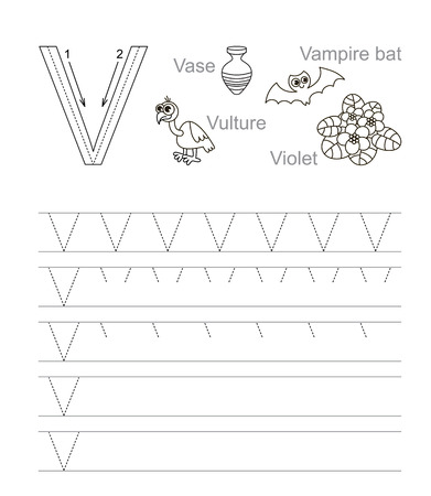 tracing: Vector exercise illustrated alphabet. Learn handwriting. Tracing worksheet for letter V. Page to be colored. Illustration