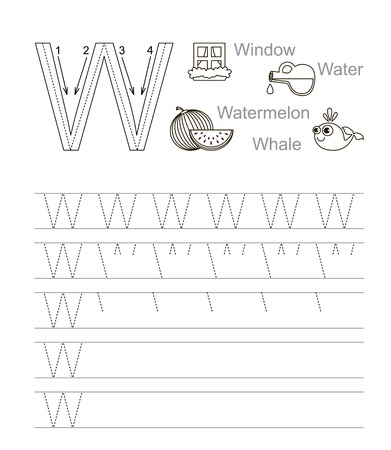 Vector Exercise Illustrated Alphabet. Learn Handwriting. Page ...
