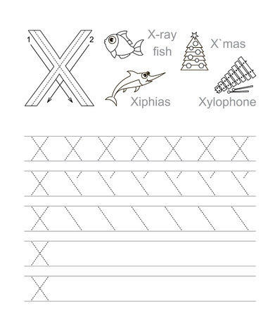 ray tracing: Vector exercise illustrated alphabet. Learn handwriting. Tracing worksheet for letter X. Page to be colored.