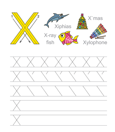 animals x ray: Vector exercise illustrated alphabet. Learn handwriting. Tracing worksheet for letter X. Illustration