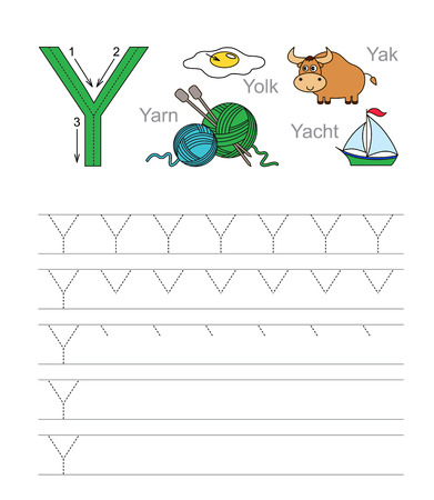 illustrated: Vector exercise illustrated alphabet. Learn handwriting. Tracing worksheet for letter Y. Illustration