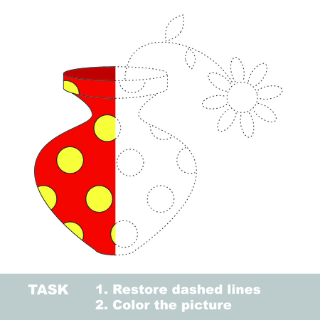 restore: One vector doll to be traced. Restore dashed line and color the picture. Illustration