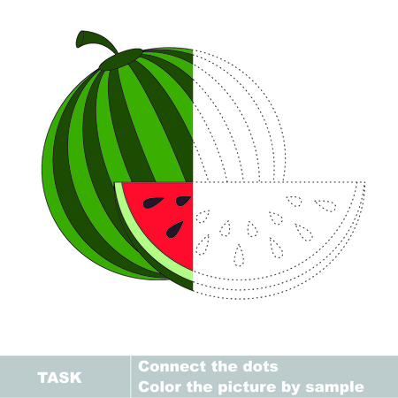 restore: One vector watermelon to be traced. Restore dashed line and color the picture. Illustration