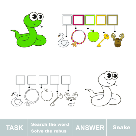 Vector game. Solve the rebus and find the word snake. Task and answer. Illustration