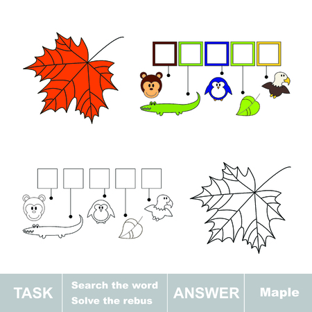 maple tree: Vector game. Solve the rebus and find the word maple. Task and answer.