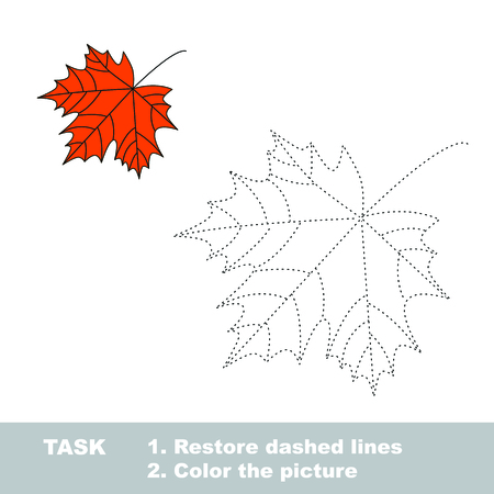 restore: One vector maple to be traced. Restore dashed line and color the picture. Illustration
