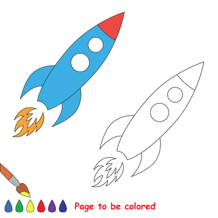dashed line: One vector toy rocket to be traced. Restore dashed line and color the picture. Illustration