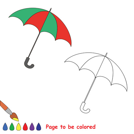 dashed line: One vector umbrella to be traced. Restore dashed line and color the picture. Illustration