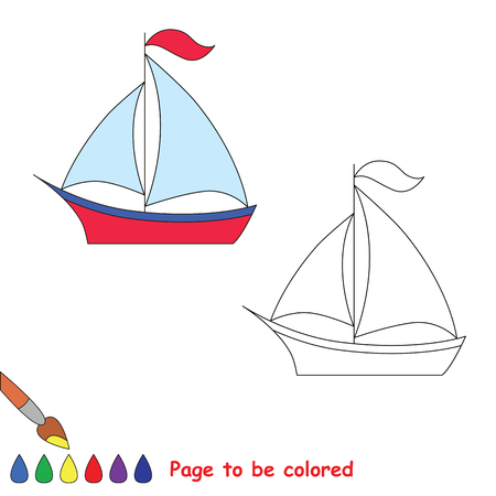 dashed: One vector yacht to be traced. Restore dashed line and color the picture. Illustration