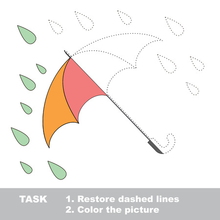 restore: One vector umbrella to be traced. Restore dashed line and color the picture. Illustration