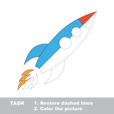 dashed: One rocket to be traced. Restore dashed line and color the picture.