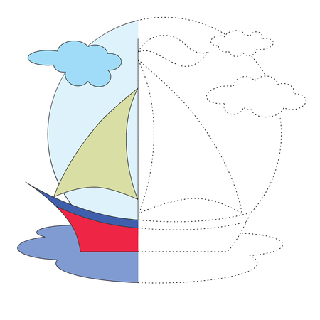 dashed: One vector red boat to be traced. Restore dashed line and color the picture.