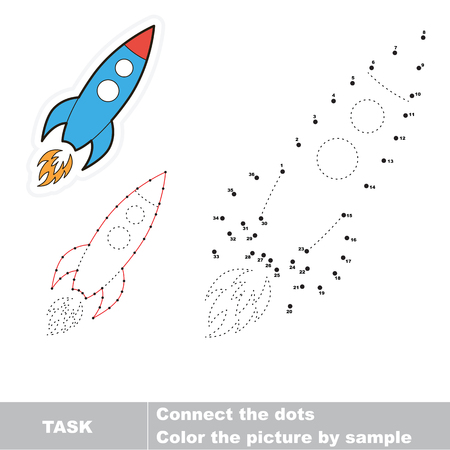 number cartoon: One vector cartoon rocket to be traced by numbers. Dot to dot game. Illustration