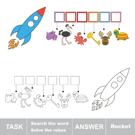 solve: Vector game. Solve the rebus and find the word rocket. Task and answer.
