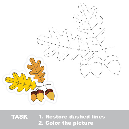 restore: Vector autumn oak to be traced. Restore dashed line and color the picture.