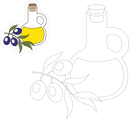 dashed line: Vector bottle with olive oil to be traced. Restore dashed line and color the picture.