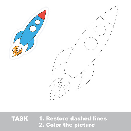 restore: Vector rocket to be traced. Restore dashed line and color the picture.