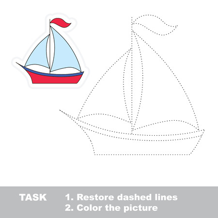 Vector boat to be traced. Restore dashed line and color the picture.