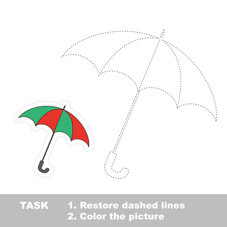 restore: Vector umbrella to be traced. Restore dashed line and color the picture. Illustration