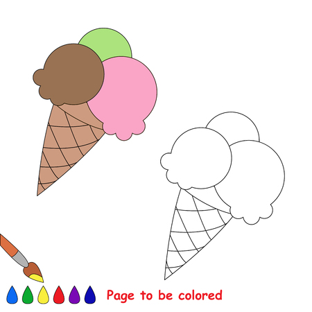 white cream: Vector cartoon ice-cream to be colored. Coloring book for children.