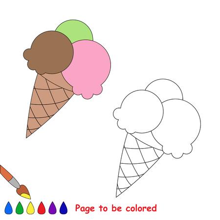 helado caricatura: Vector de dibujos animados de helados a ser de color. Libro de colorante para los niños.
