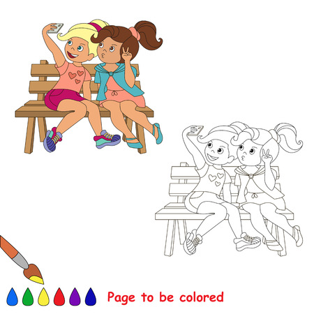 friend  nobody: Vector cartoon character playing baby.Vector friends girls with telephone make selfie. Coloring book for children.