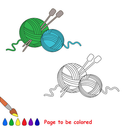 vector cartoon yarn to be colored coloring book for children vector - Coloring Book Yarns